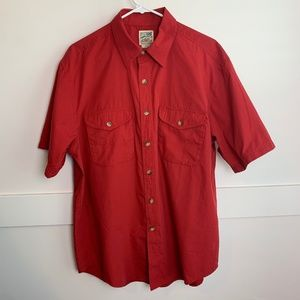 TravelSmith Red Short Sleeve Button Up Shirt